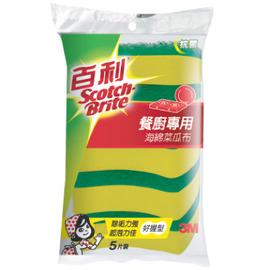 3M百利 餐廚專用海綿菜瓜布 5入(小綠)